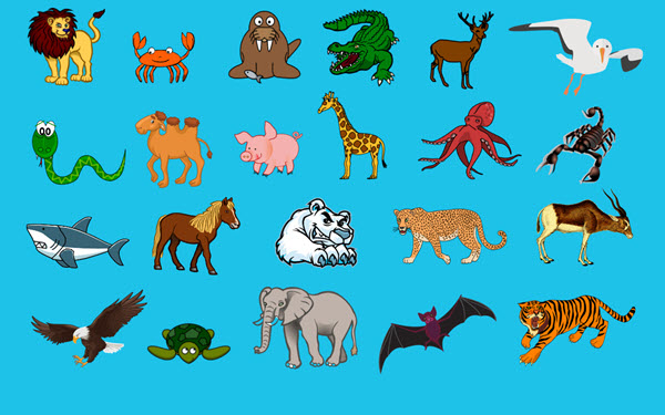 Image of animals used in the H5P game